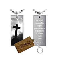 詩篇91: 11(ステンレススチール)聖書語句長方形pendant-necklace-medal