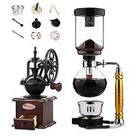 JACKBAGGIO 新しい DIY コーヒーサイフォンポット コーヒー豆挽き器 コーヒーメーカー 家庭 ガラス コーヒーセット あり マニュアル コーヒーミル