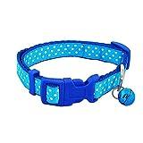 VAKIT ペット用首輪 猫用 犬用リード バックる付き ベール付き 首輪とリードのセット 水玉柄 幅約1.5cm 散歩 便利 軽量 ブルー