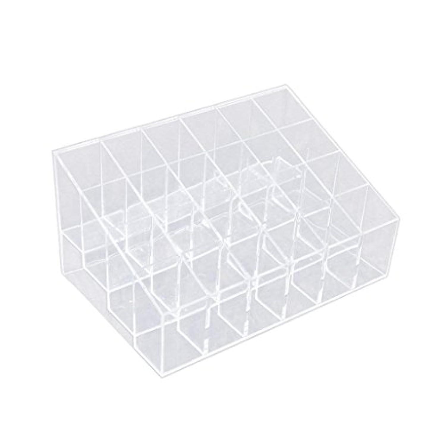 文房具下に向けます連続した(デマ―クト)De.Markt 収納ケース リップ収納 収納ボックス 口紅ホルダー プラスチック製 小物入れ 化粧品 台形 メイクアップ  リップスティックホルダー 24区 透明