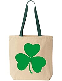 shop4ever Irishグリーンシャムロックコットンキャンバストートバッグ聖パトリックの日再利用可能なショッピングバッグ10 oz色付きハンドル 10 oz グリーン S4E_1215_Shamrock_TB_8868...