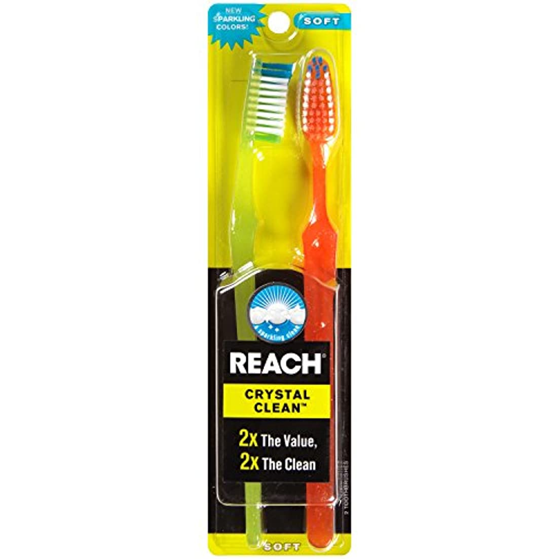 バズ下る才能のあるReach Toothbrush Crystal Clean Soft Twin (6 Pieces) by Reach