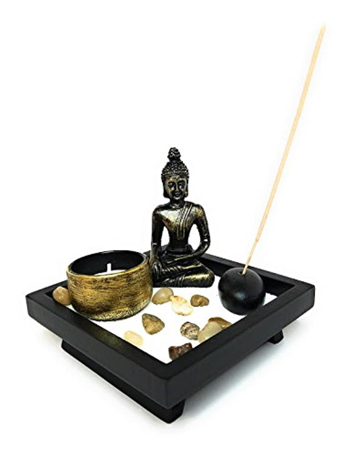 後ろに論争的暗唱するZen Garden with Buddha、Tea Light Candle and Incense Holder – Perfect for瞑想( 5