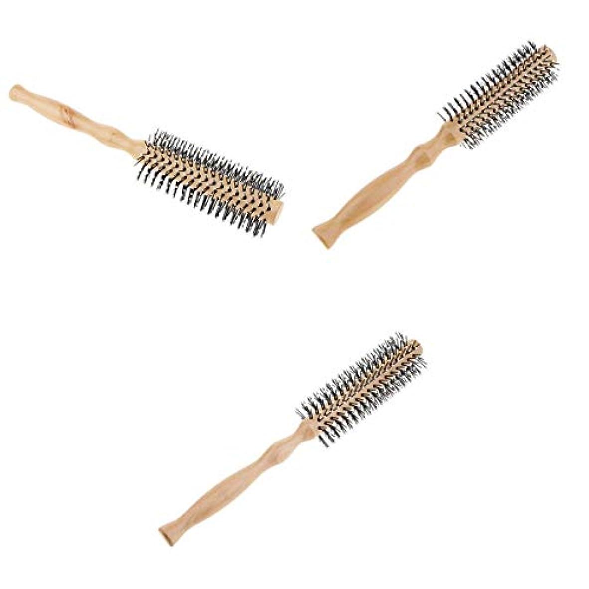 サービス回転リズムロールブラシ ヘアブラシ 木製櫛 スタイリングブラシ 巻き髪 静電気防止 3本セット