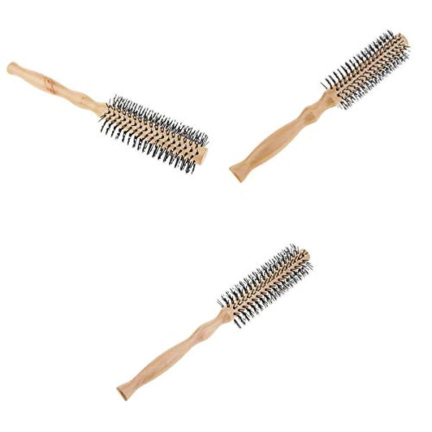 押し下げる注釈選挙ロールブラシ ヘアブラシ 木製櫛 スタイリングブラシ 巻き髪 静電気防止 3本セット