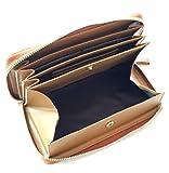 aimablerito ロココ調 デザイン 長財布 使いやすい 箱型 小銭入れ 多機能 ストラップ 付 ギャルソン レザー 全3色 bw (b. ブラウン)