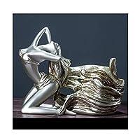 家の装飾、創造的な金および銀の女神の彫刻および装飾、家の居間のキャビネットTVのキャビネットワインキャビネットワインラックの工芸品ビジネスギフトのために適した (Color : Silver, Size : 28*17*21cm)
