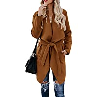 Umeko Womens Lapel Open Front Wrap Coat Casual Long Sleeve Winter Fall Warm Wool Blend Overcoat Outwear