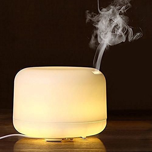 アロマディフューザー  超音波式 加湿器  温かい光  空焚き防止 静音 日本語説明書  500ML