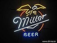 "Millerビールネオンサイン24"" x20""インチ明るいネオンライト表示Mancave Beer Bar Pubガレージ"