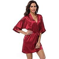 Feelia Women's Kimono Robe Short Bathrobe, Nightgown Sleepwear Satin Short Robe for Wedding Party