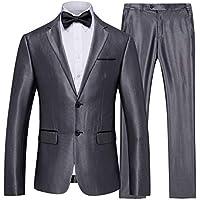 neveraway Mens Basic Style Tuxedo Two-Button Business Blazer Jacket Pants Set
