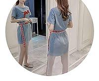 新しいTシャツ半袖長袖のメッシュスカートツーピーススーツ,ライトブルー,XL