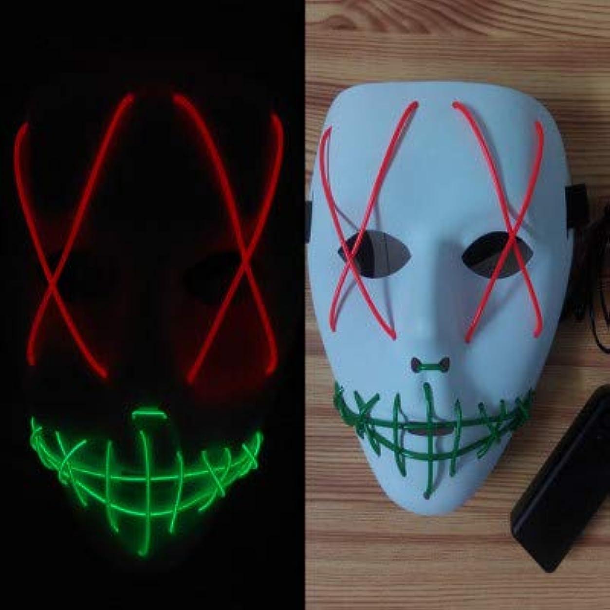 輝く不気味なマスク、祭りのハロウィーンの衣装、コスプレパーティー