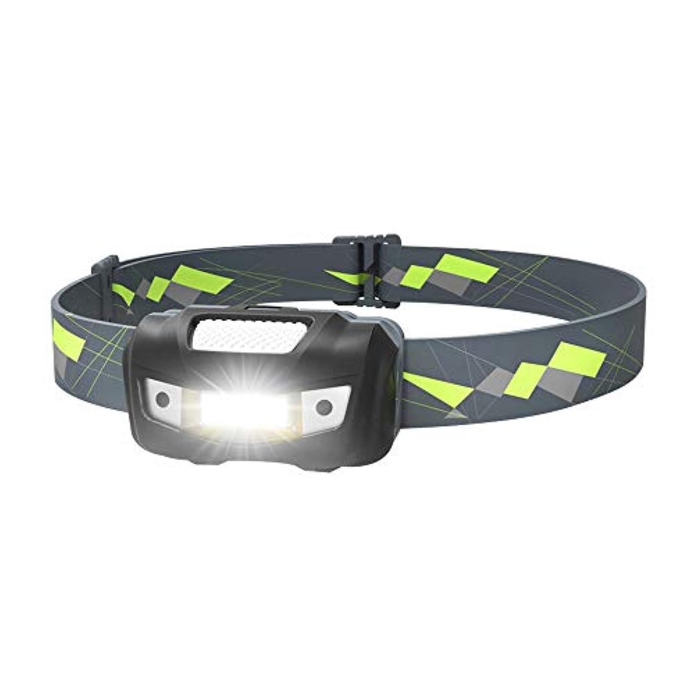 スポンサーポーターを通してMIC LEDヘッドライトセンサー機能 COBミニヘッドランプ 乾電池アウトドアライト 小型軽量/ 125ルーメン/実用点灯13時間/ IPX6防水 登山/キャンプ/サイクリング/ハイキング/防災/夜釣り/非常時用