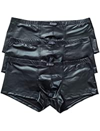 セクシーなメンズg-strings ThongアンダーウェアブラックローライズボクサーブリーフUnderpants 3 - Pack