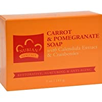 海外直送品Nubian Heritage Bar Soap, Carrot and Pomegranate 5 OZ (Pack of 6)