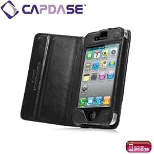 CAPDASE iPhone4 専用 よこ開き Bi-fold ブックタイプ 本革製ケース ブラック WCIH4-5001