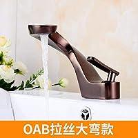 JingJingnet 洗面台の蛇口タップ浴室のシンクの蛇口黒のレトロ銅盆地の蛇口単穴の下のホット&コールドバスタブ洗面台の蛇口 (Color : The Oab Large Elbow)