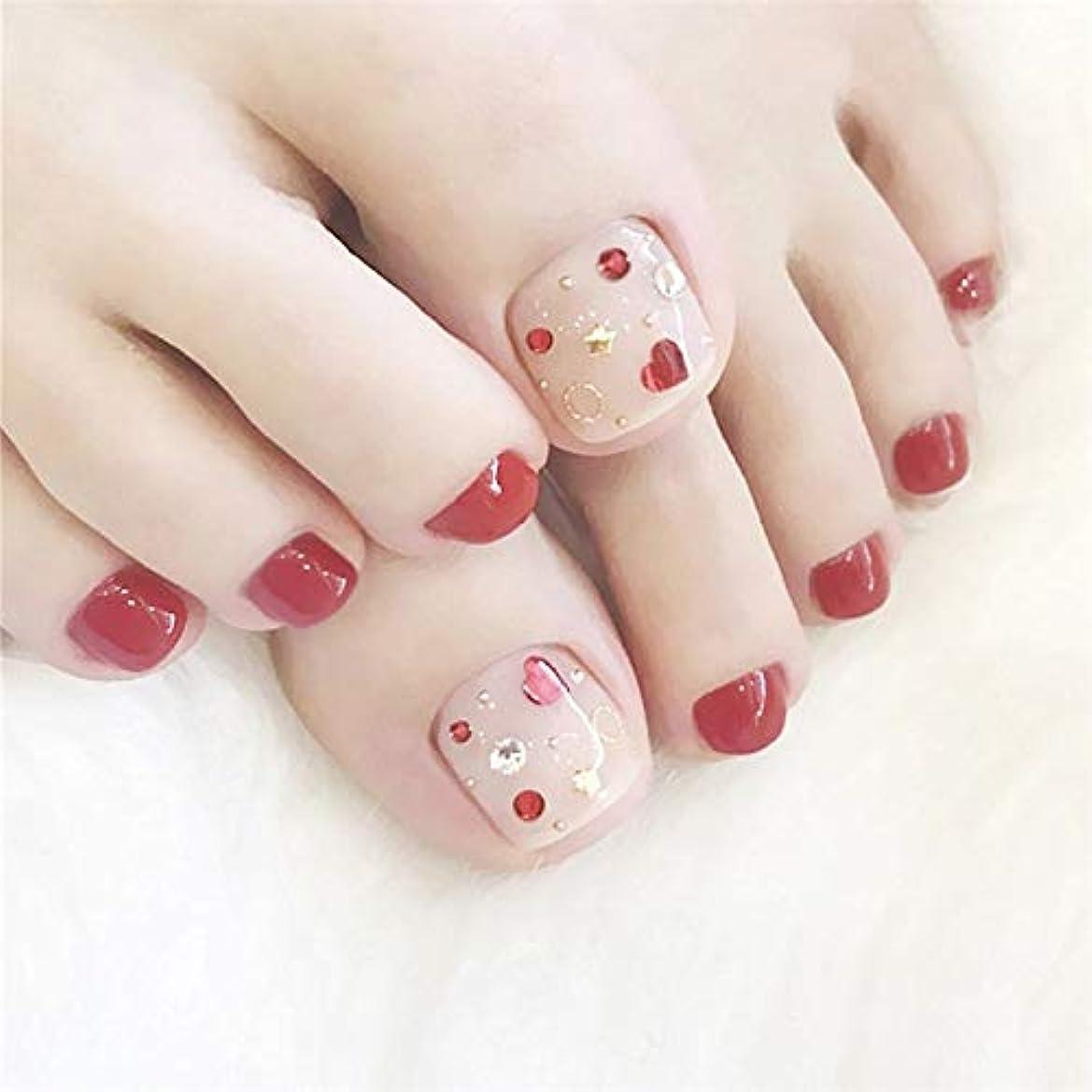 中国性差別バズ足用 綺麗なネイルチップ ネイル花嫁 足の爪のネイルチップ レッドフラッシュドリル 手作りネイルチップ 紅白の星 24pcs