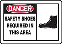 Accuform MPPE020VP Sign Legend DANGER SAFETY SHOES REQUIRED IN THIS AREA 7 Length x 10 Width x 0.055 Thickness Plastic 7 x 10 Red/Black on White [並行輸入品]