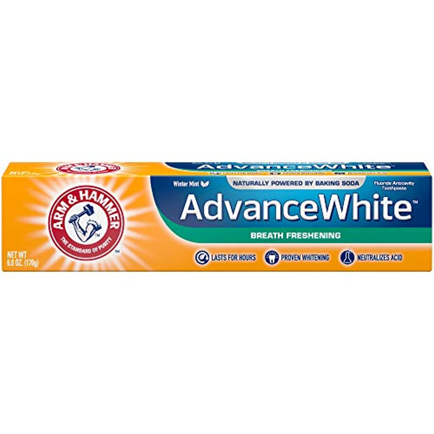拒絶するセレナ逆アーム&ハマー アドバンス ホワイト 歯磨き粉 ブレス フレッシュニング 170g Advance White Breath Freshing Baking Soda & Frosted Mint