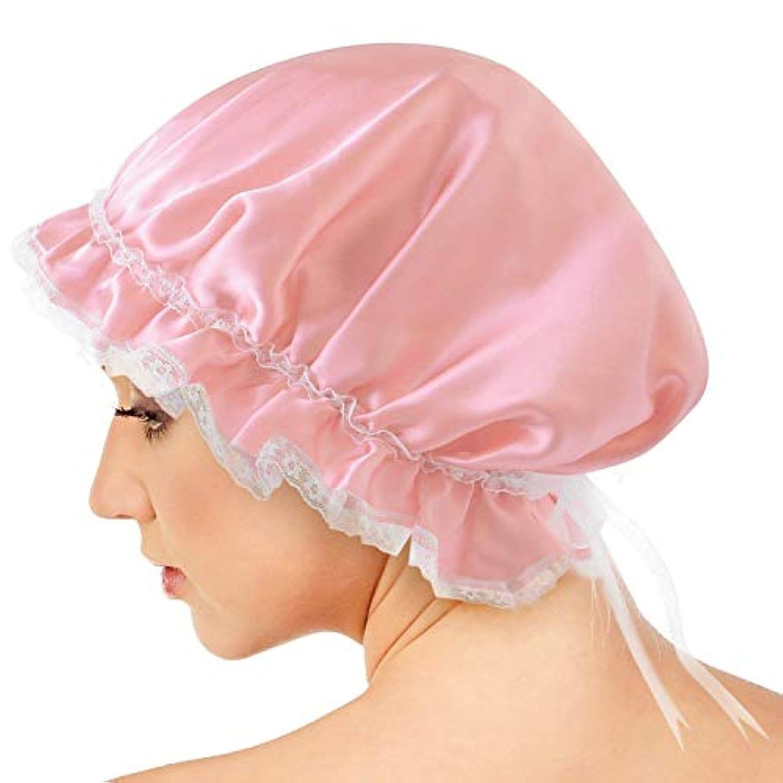 AQshop comfort silk ナイトキャップ 【サイズ調節可能】 リボン レース 紐付き ロングヘア対応 シルク100% つや髪 保湿 フリーサイズ lc (ライトピンク)