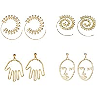 Spiral Hoop Earrings Set Vintage Tribal Swirl Earrings Hollow Face Hand Shape Gold Statement Earrings For Women 4 Pairs/Set