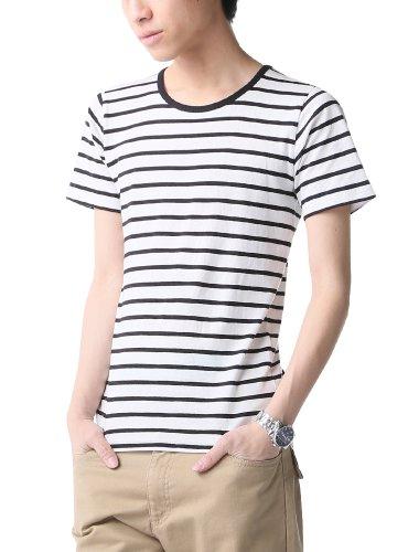 ボーダー カットソー Tシャツ メンズ 半袖 Vネック 606062 ベストマート