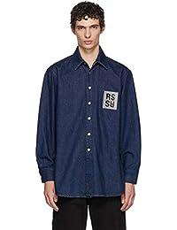 (ラフ シモンズ) Raf Simons メンズ トップス シャツ Navy Denim Logo Patch Shirt [並行輸入品]