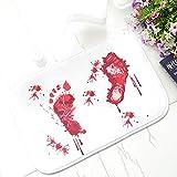 Blood Footprint バスマット ドアマット 怖いホラースタイル ハロウィーン装飾 ホット
