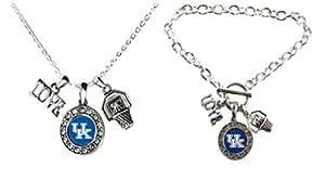 Kentucky WildcatsマルチチャームLove Basketballブルーシルバーネックレス&ブレスレットジュエリーセット