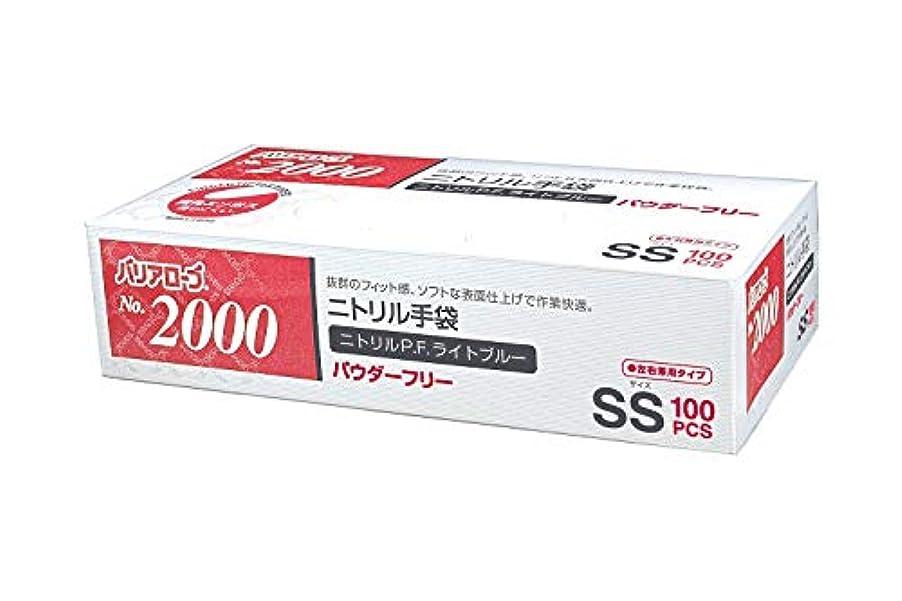 【ケース販売】 バリアローブ №2000 ニトリルP.F.ライト ブルー (パウダーフリー) SS 2000枚(100枚×20箱)