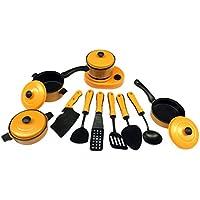 fenteer 13pcs Pots and Pansキッチン調理器具for Children Play HouseおもちゃシミュレーションKitchen Utensilsイエロー