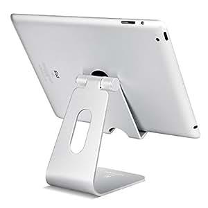 タブレット スタンド 角度調整可能, Lomicall ipad スタンド : 充電スタンド, ホルダー 対応 タブレット 卓上 (4~10''), アイフォン, Nintendo Switch, iPad mini air 1 2 3 4, Qua Tab PZ, MediaPad, ASUS ZenPad, Lenovo Yoga Tab, Fire HD 8, Xperia Tablet Z (銀)