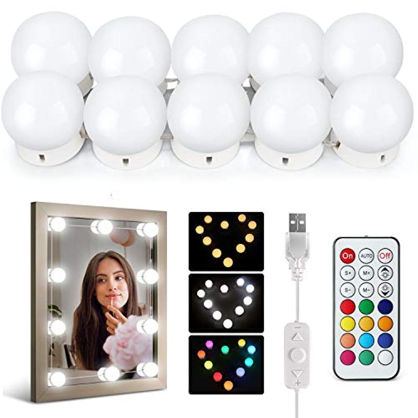 くつろぐ回復する移民IDESION LEDミラーライト 女優ライト 10個で1セット 12カラー 30パターン以上の点灯モード ダブルリモコン付き ハリウッドライト USB給電 日本語説明書付き