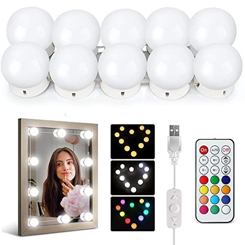 利用可能爆発するゴールIDESION LEDミラーライト 女優ライト 10個で1セット 12カラー 30パターン以上の点灯モード ダブルリモコン付き ハリウッドライト USB給電 日本語説明書付き