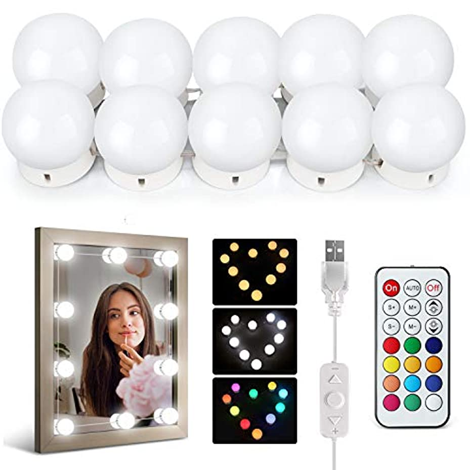 クラシカル誠実詳細にIDESION LEDミラーライト 女優ライト 10個で1セット 12カラー 30パターン以上の点灯モード ダブルリモコン付き ハリウッドライト USB給電 日本語説明書付き