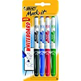 BIC Rubber Grip Mark It Whiteboard Markers Medium Bullet Tip - Assorted Colours, Pack of 4
