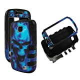 Bk Blue Skull Hybrid 3 in 1 Samsung Galaxy Proclaim SCH-S720C NET 10 Straight Talk / Illusion i110 Verizon Case Cover Hard Phone Case Snap-on Cover Rubberized Touch Faceplates by wirelesspulse [並行輸入品]