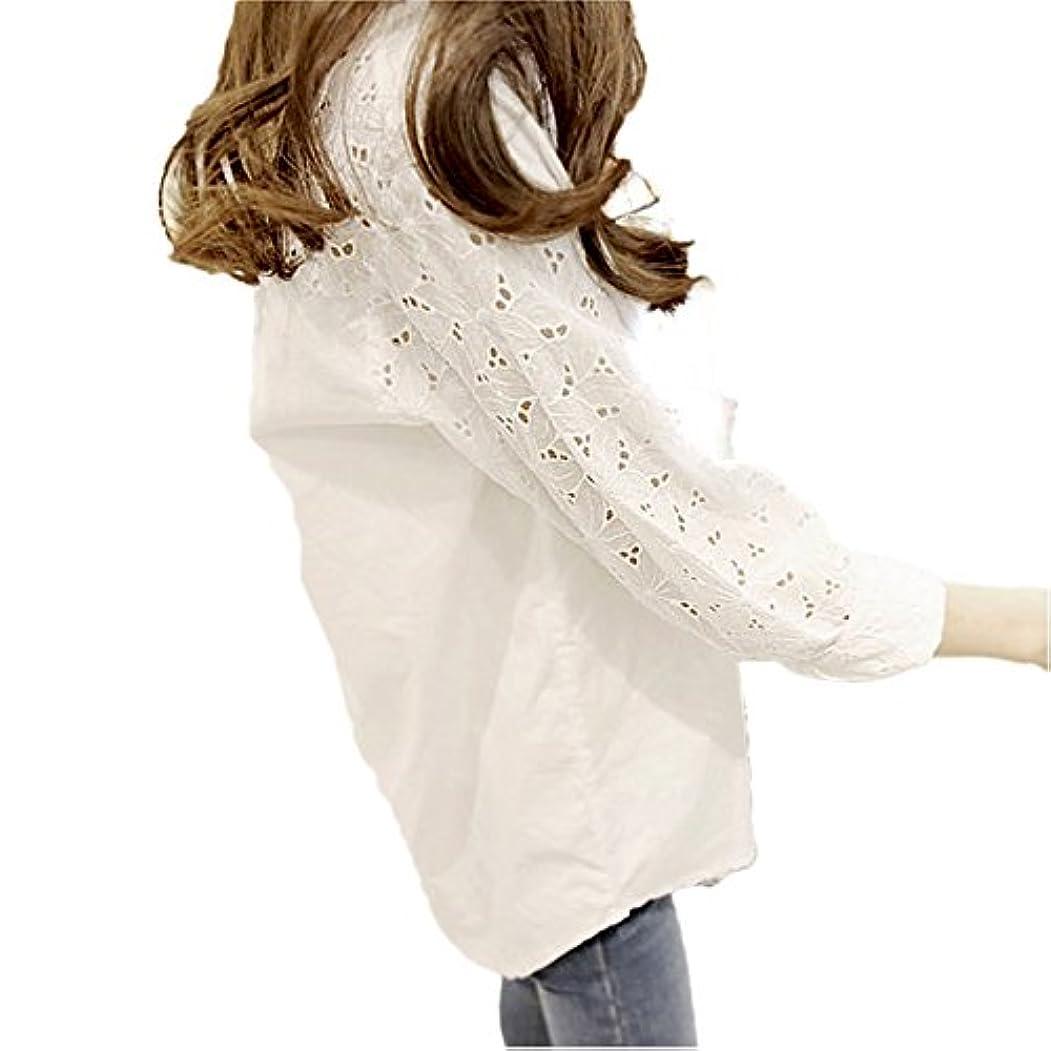 肺経営者安全な(ココチエ) kokochie 白シャツ レディース おしゃれ オフィス レース 刺繍 長袖 綿 カジュアル