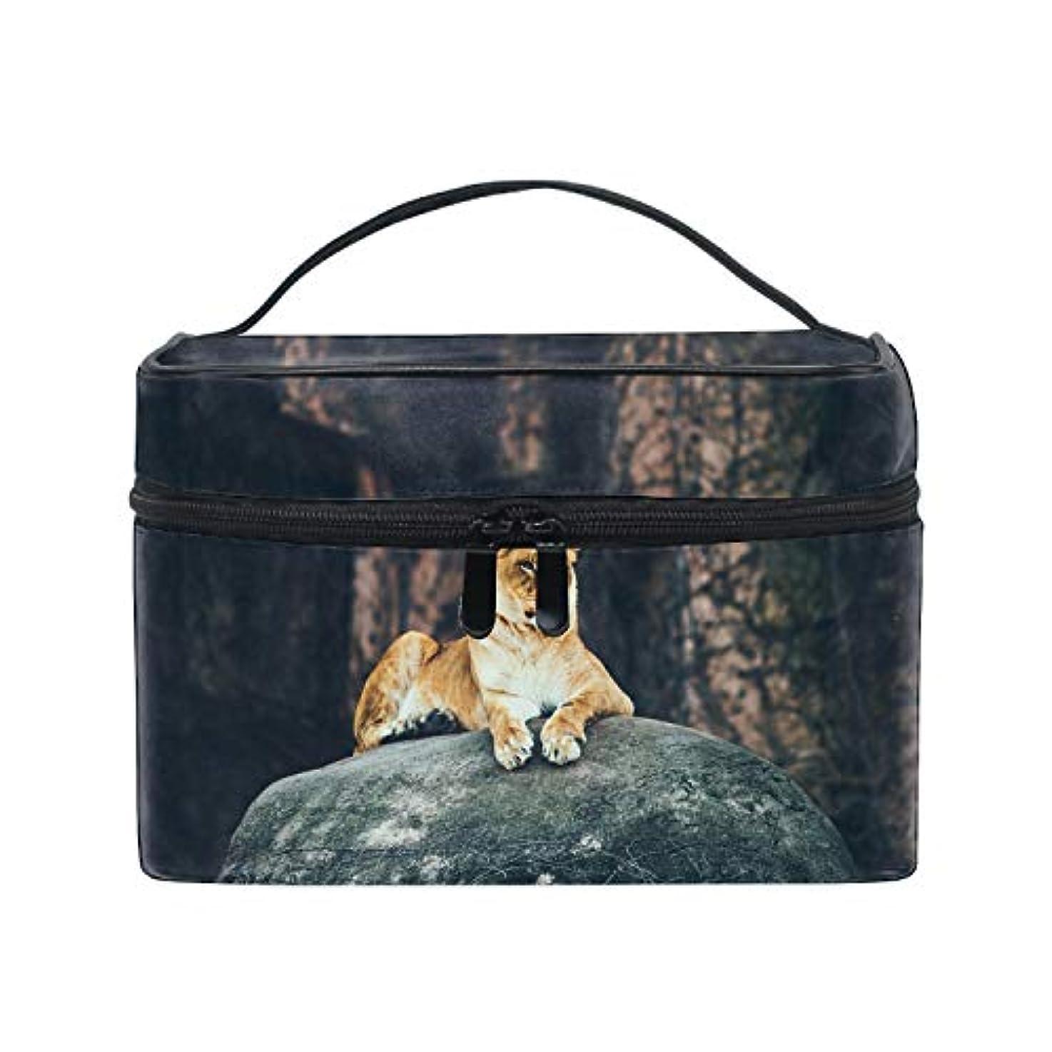 で出来ている知恵ブロックするライオンロック動物メイクボックス コスメ収納 トラベルバッグ 化粧 バッグ 高品質