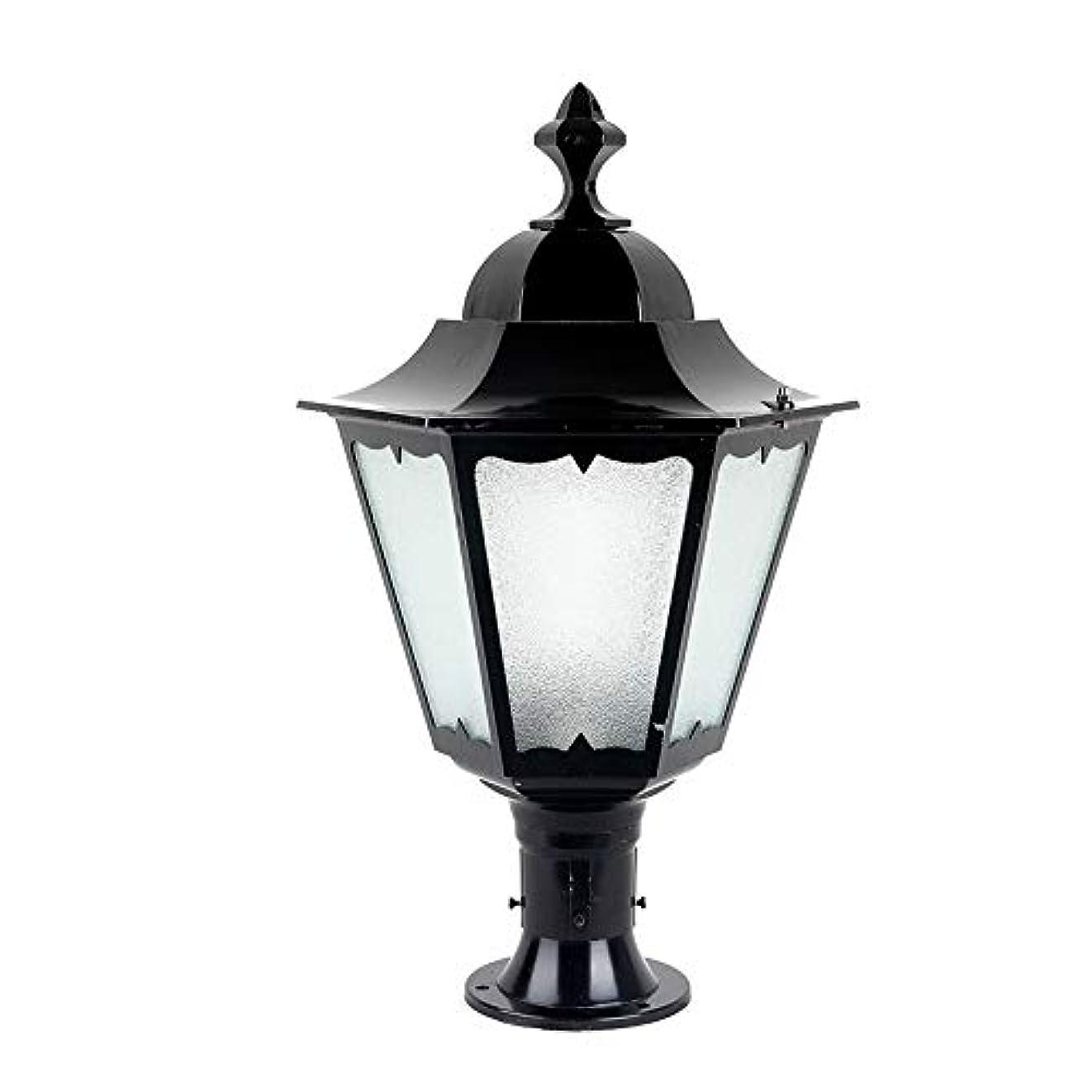 実り多い欠かせない徐々にPinjeer E27ヴィンテージ屋外防水ガラスコ??ラムライトヨーロッパレトロ産業外装飾ポストライトガーデンドア街路家の照明柱ライト (Color : Black, サイズ : Height 62cm)