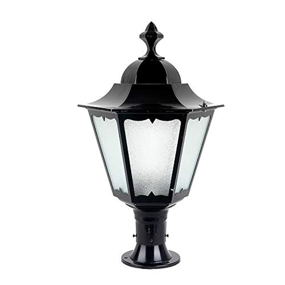 濃度栄光の良心的Pinjeer E27ヴィンテージ屋外防水ガラスコ??ラムライトヨーロッパレトロ産業外装飾ポストライトガーデンドア街路家の照明柱ライト (Color : Black, サイズ : Height 62cm)