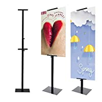 HUAZI Sign Stand Pedestal Poster Stand with BaseDouble-SidedBlack (Single Pole Stand [並行輸入品]