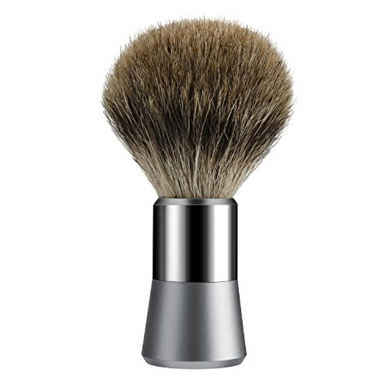 Tezam シェービング ブラシ, シェービングブラシ アナグマの毛 100%, クロームハンドル