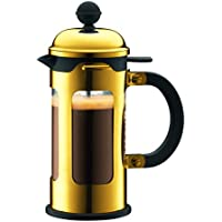 Bodum Chambord - French Press Cafetiere - Borosilicate Glass Plastic Steel and Silicone - Gold - 3 Cups/0.35l