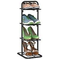 レトロなデザインの靴オーガナイザー棚とキャビネットの家具を格納する4ティア靴ラックの鉄のシンプルな