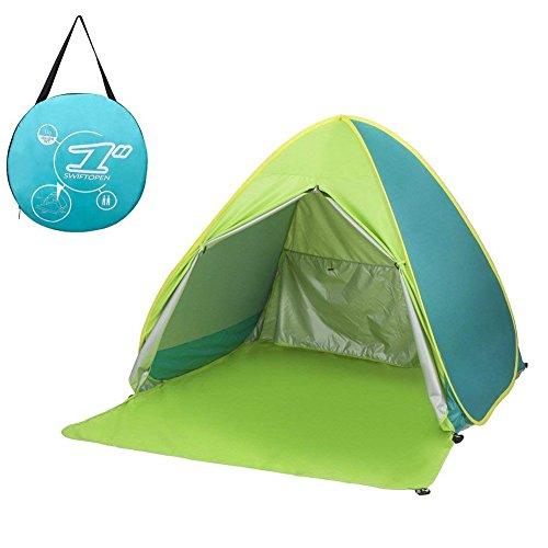 サンシェードテント moonwind ワンタッチテント 2-3人用 UPF50+ カーテン付き 超軽量 通気性抜群 ビーチ ブール アウトドア・運動会に最適 撥水加工 紫外線防止 キャリーバッグ付き (グリーン)