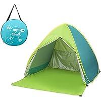 サンシェードテント moonwind ワンタッチテント 2-3人用 UPF50+ カーテン付き 超軽量 通気性抜群 ビーチ ブール アウトドア・運動会に最適 撥水加工 紫外線防止 キャリーバッグ付き